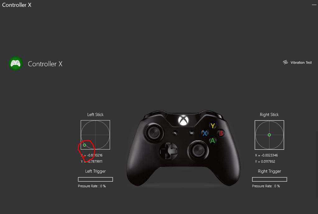 コントローラーの左スティックが正常に動作していない時の図