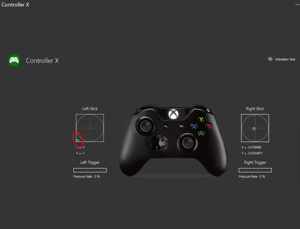 コントローラーの左スティックが正常に動作している時の図
