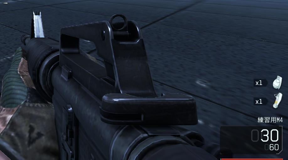 アインサイトで武器が壊れた状態で試合をしたら、練習用M4という武器になっていた
