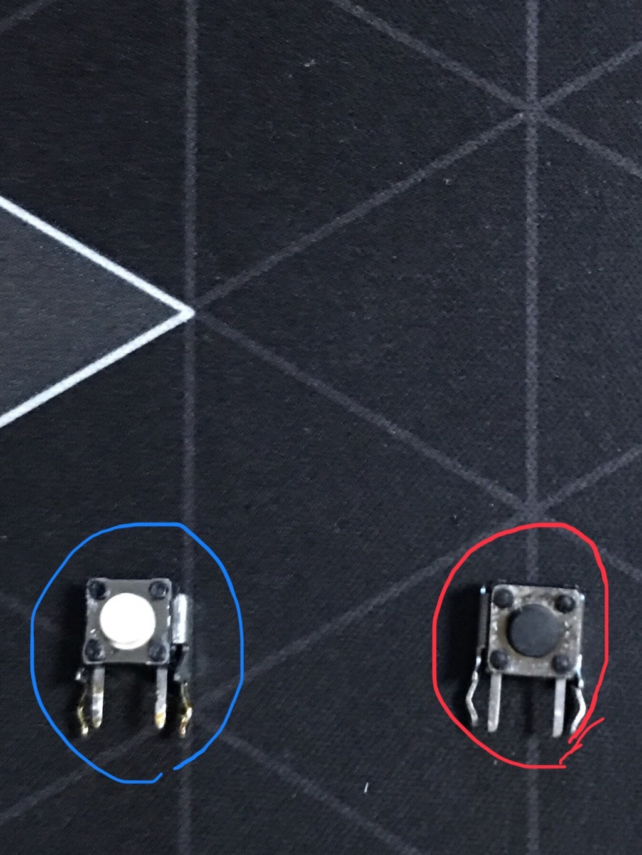 左が古いRBボタンの基板で右が新しいRBボタンの基板