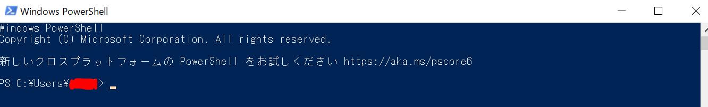 Windows PowerShellを起動した状態