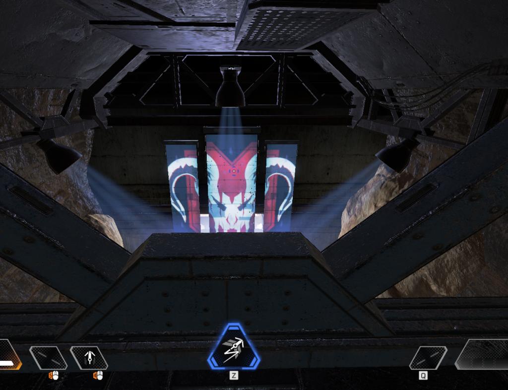 洞窟の中の天井にある鉄の足場のような所へパスファインダーのグラップリングフックで行った後の状態