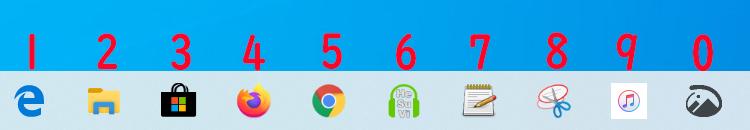 タスクバーにあるアプリをショートカットキーを使って起動するにはWindowsキー+数字キーで起動する