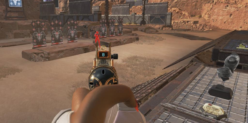 Apex Legendsのアップデート後にこのように射撃訓練場や試合画面で所々が暗くなってしまうバグはゲームの修復をすることで直る