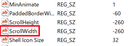 「WindowMetrics」内にある「ScrollWidth」をダブルクリックして開く