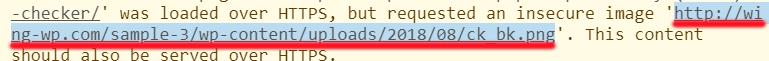 三段落目に使用されているH3タグの背景画像のURL(http://wing-wp.com/sample-3/wp-content/uploads/2018/08/ck_bk)がhttpsされていないことで保護されていない通信出ていた