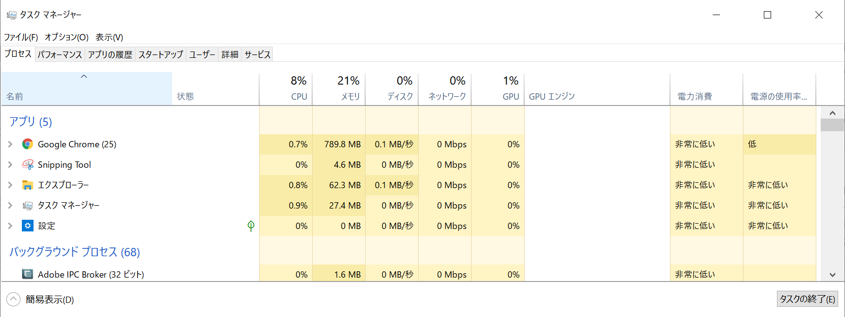 Windows 10でタスクマネージャーを簡易表示から詳細表示にする方法