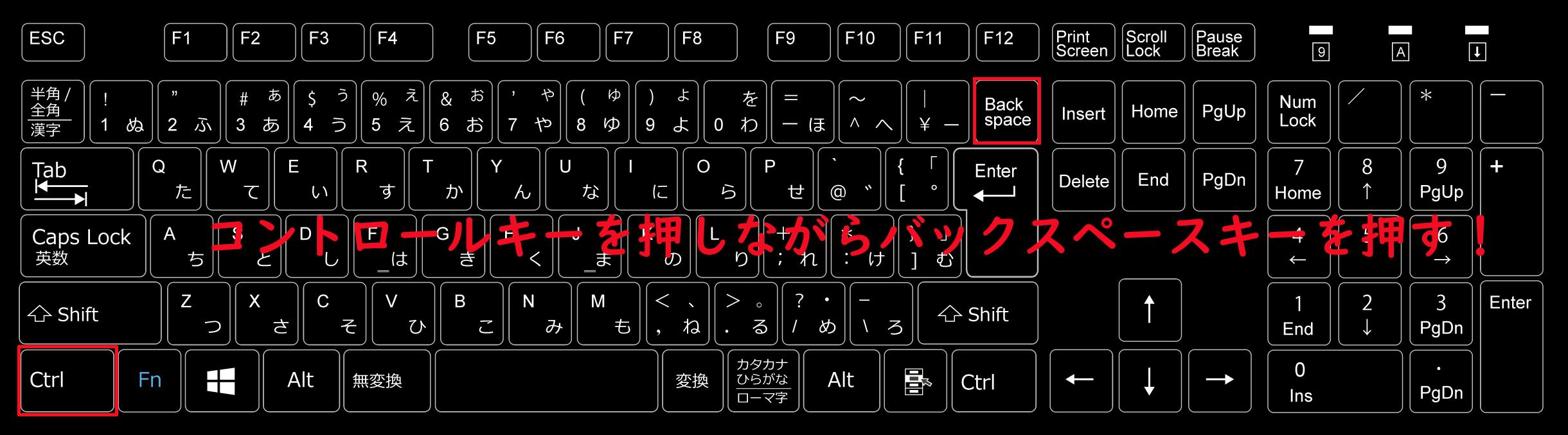 コントロールキーを押しながらバックスペースキーを押すことで確定してしまった文字を確定前の状態に戻すことができる