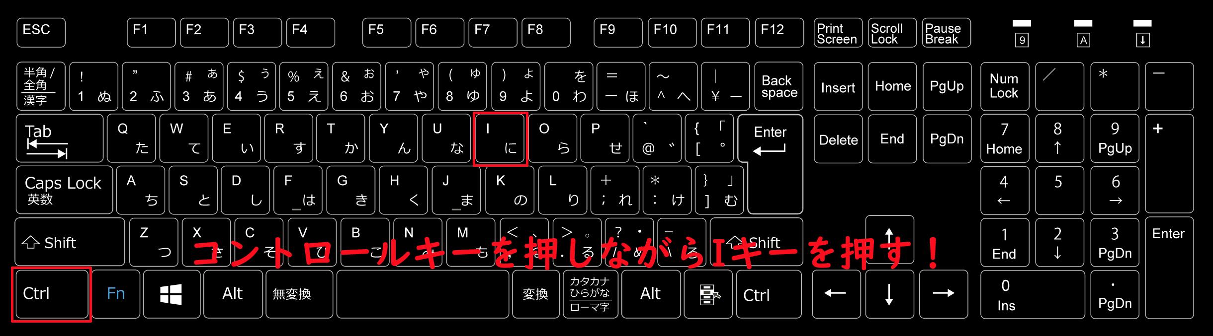 斜体にしたい文字を選択した状態でコントロールキーを押しながらIキーを押す!