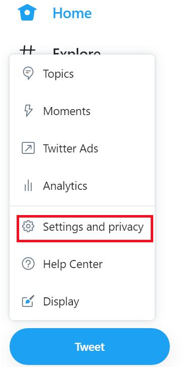 歯車アイコンの「Settings and privacy」をクリックする