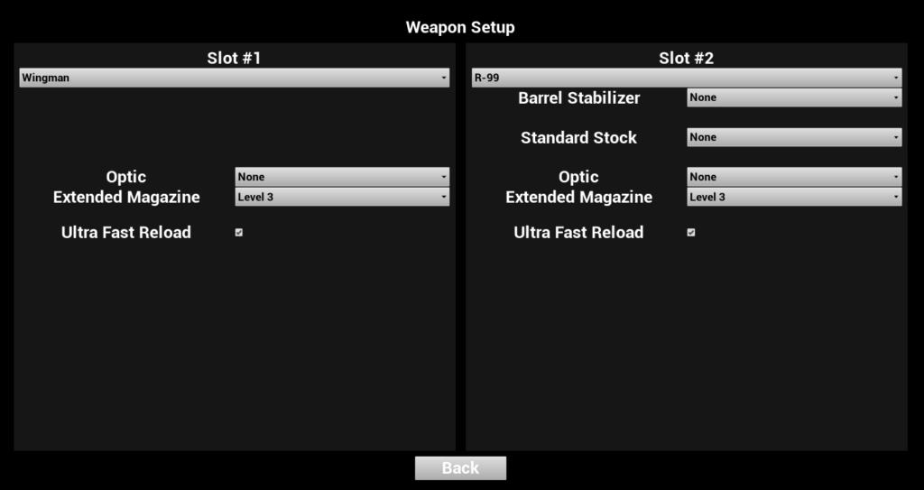 武器を2種類装備することができ、どのアタッチメントをセットするかも設定することが出来る