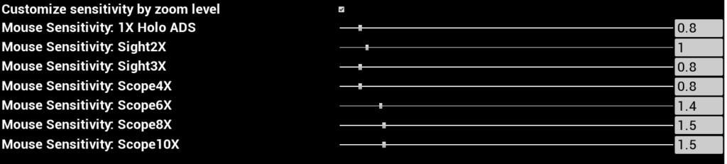ADS時のスコープの倍率の違いによるそれぞれの感度もApex Legendsと同じ感度に設定することができる