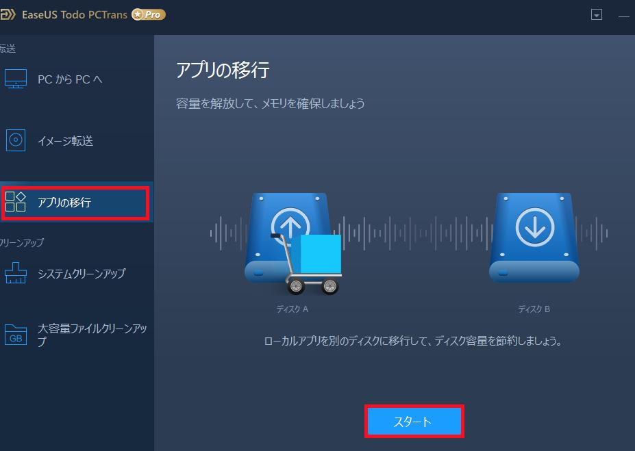EaseUS Todo PCTransを起動し、その中にある「アプリの移行」をクリックし、そして表示される中にある「スタート」をクリックします。