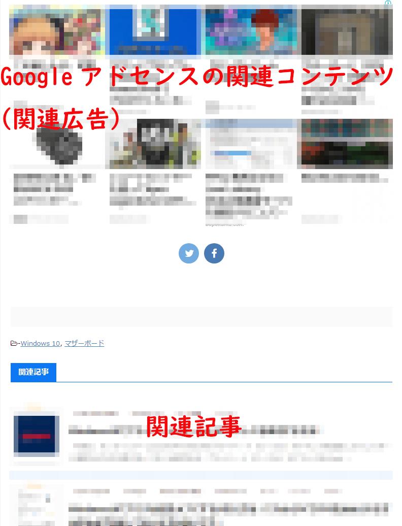 Googleアドセンスの関連コンテンツ(関連広告)とブログの方に元から設置してある関連記事とが一緒に表示された状態となってしまっている