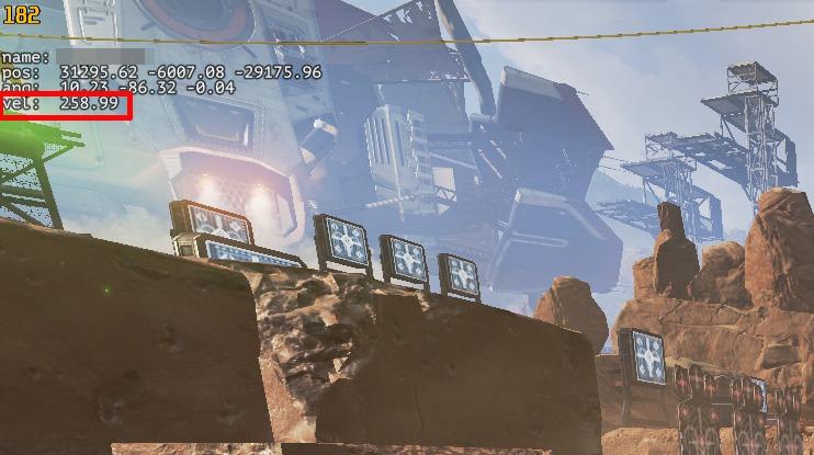 PC版Apex Legendsでキャラの移動速度をプレイ画面上に表示させる方法(velというところにレジェンドの移動速度が表示される)