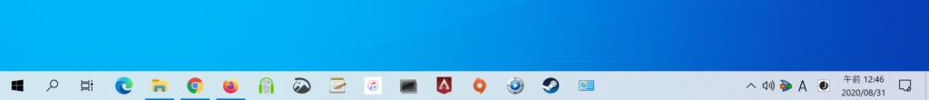 Windows 10の初期設定状態でのタスクバーの大きさ