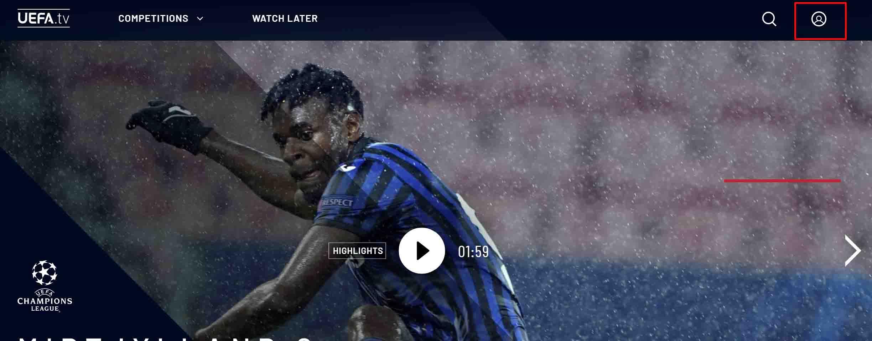 最後にUEFA.tvのトップページへと戻り、ページの右上にアカウントのマークがあればUEFAのアカウントの作成は完了です。