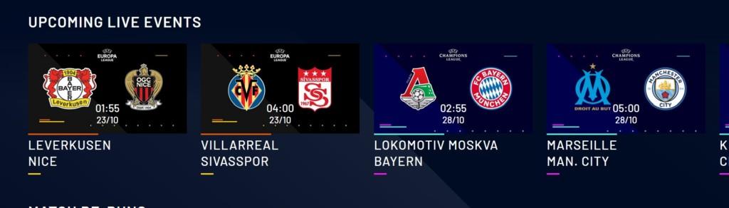 UEFA.tvでは、CLとELの試合を多くても1日2試合のライブ配信のみとなっています。