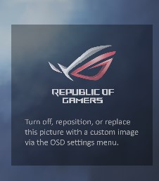 turn off, reposition, or replace this picture with a custom image via the OSD settings menuと表示されてしまう時の対処法
