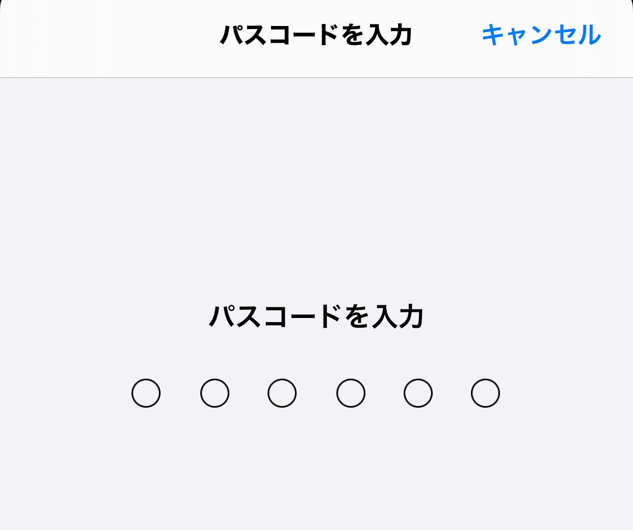 iPhoneのログインパスワードの入力画面が表示されますので、iPhoneのログインパスワードを入力します。