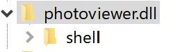 レジストリエディタを起動しましたら、以下の順で「photoviewer.dll」まで展開します。
