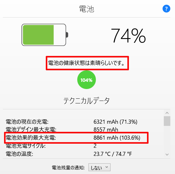 「iMazing」でバッテリーの状態(電池効果的最大充電)が103.6%と表示されるのはなぜ?