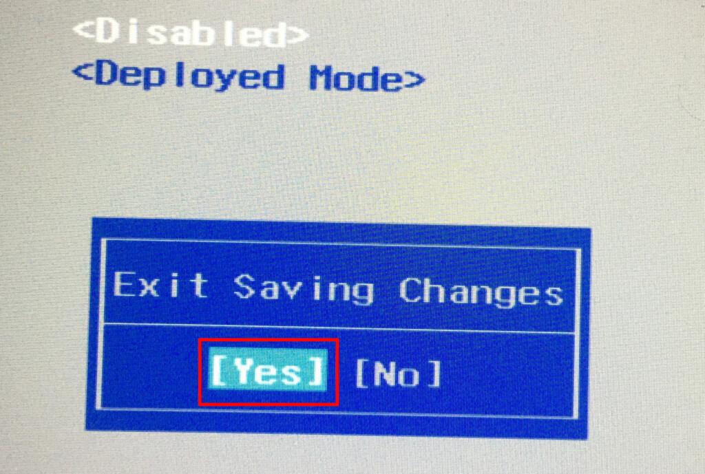 ⑥-2Yesを選択してBIOS画面から退出する