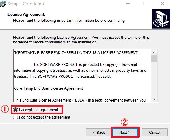 ②-③「I accept the agreement」にチェックを入れてNextをクリックする