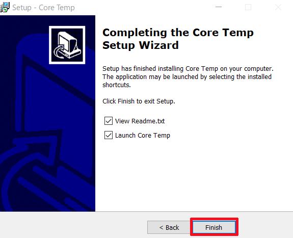最後にこのような画面が表示されていれば「Core Temp」のインストールは完了となりますので、「Finish」をクリックします。