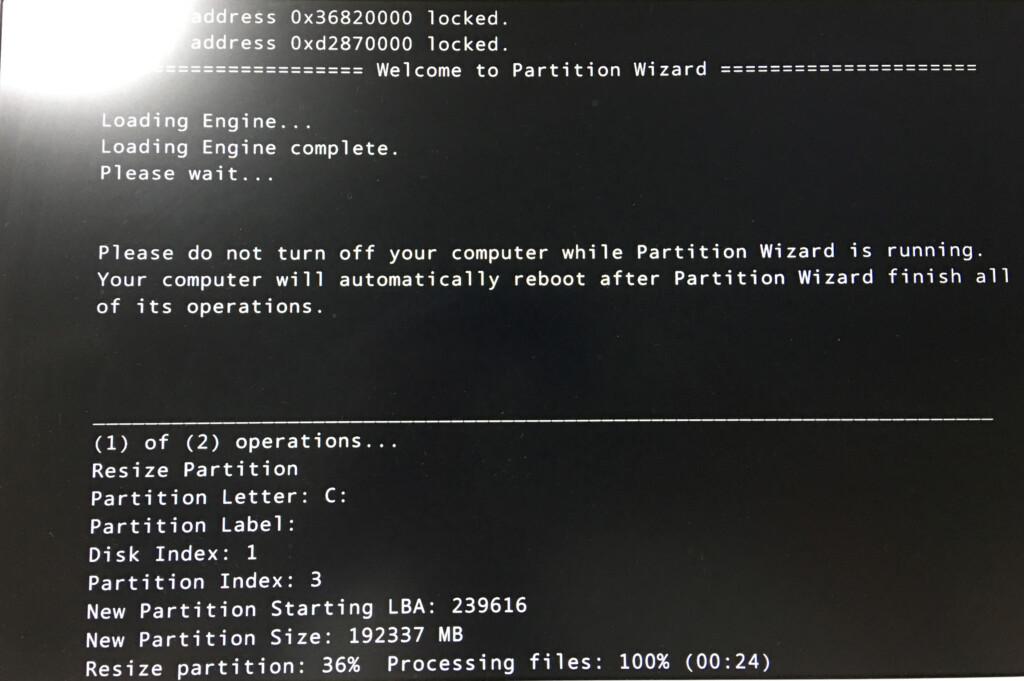 CドライブをMiniTool Partition Wizardでパーティションの分割をしている状況2