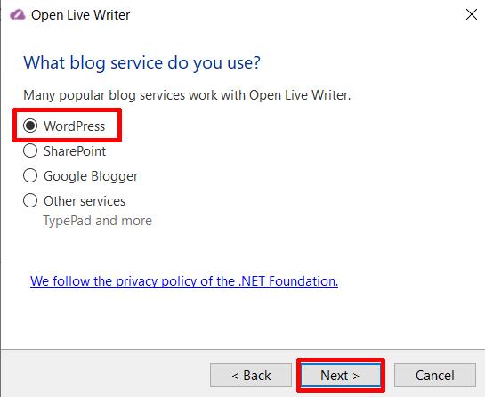 ④「WordPress」を選択し、「Next」をクリックする