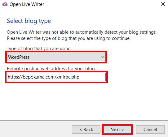 ⑥Type bog blog that you are usingを「WordPress」にRemote posting web address for your blogに「ワードプレスのサイトのアドレスxmlrpc.php」を入力し、「Next」をクリックする