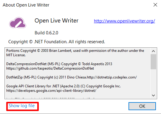 「About Open Live Writer」内にある「Show log file」クリックする