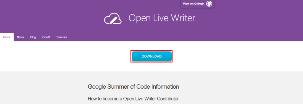 Open Live Writer公式サイトへアクセスをし、Open Live Writerのインストールファイルをダウンロードする